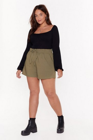 Womens Khaki Tie Your Best Plus High-Waisted Shorts