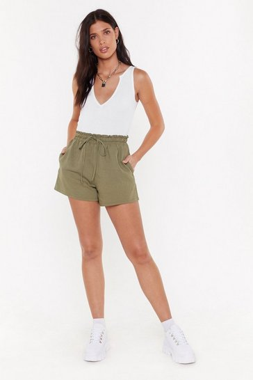 Womens Khaki Tie Your Best High-Waisted Shorts