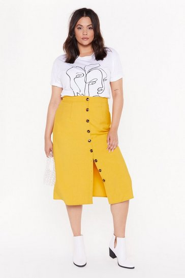Womens Mustard Let's Get Button-Down to Business Plus Midi Skirt