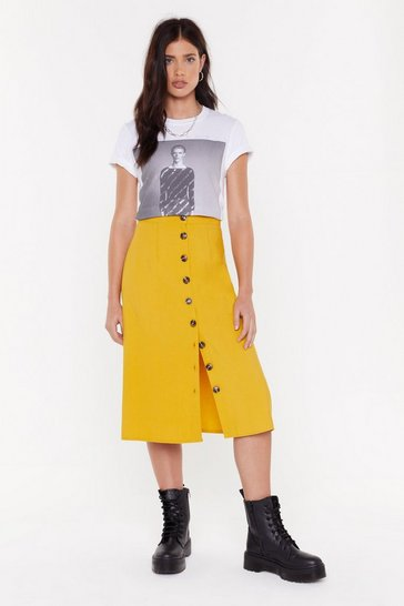 Womens Mustard Let's Get Button-Down to Business Midi Skirt