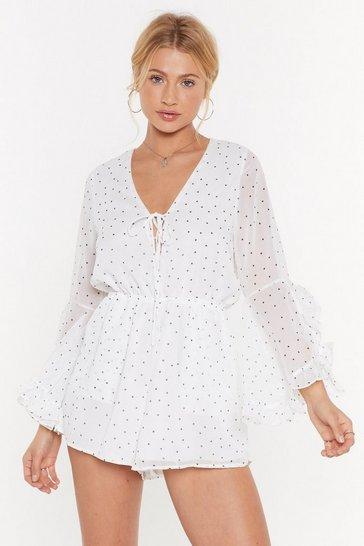 Womens White Spot Some Thinking to Do Tie Flare Playsuit