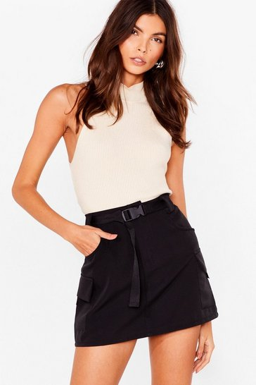 Black High-Waisted Belted Utility Mini Skirt
