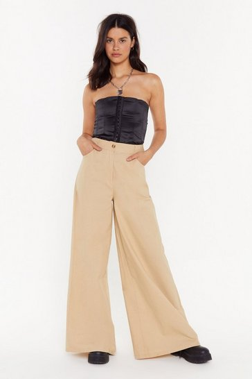 Womens Sand High in the City Linen Wide-Leg Pants