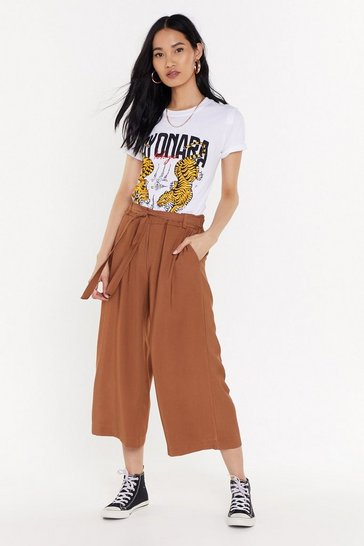Womens Tan Belted Wide-Leg Culottes