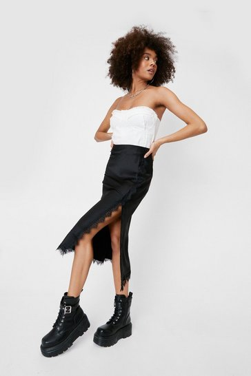 Black Lace Trim Satin Midi Skirt