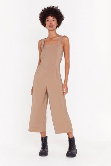 Womens Camel Push My Buttons Cropped Jumpsuit