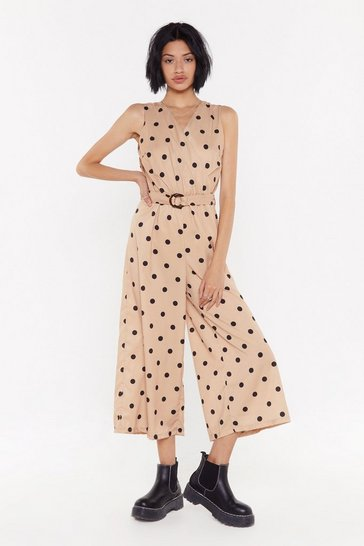 Womens Tan Polka Dot Wrap Jumpsuit