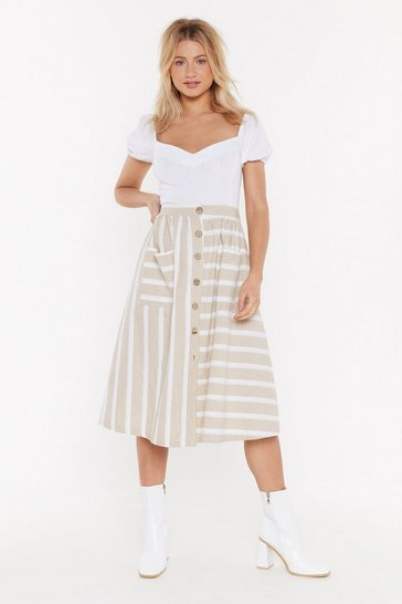 Womens Beige MS  Button Front Stripe Midi Skirt