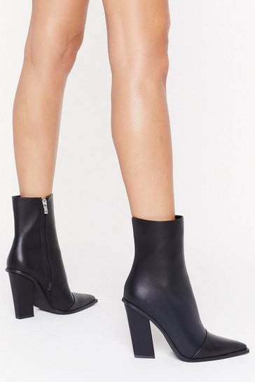 Womens Black Missed the Point Faux Leather Boot
