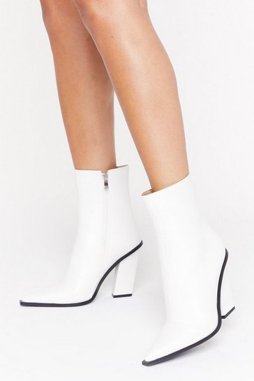 Womens White Point Me in the Right Direction Faux Leather Boots