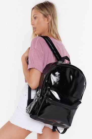 Womens Black Back On It Faux Leather Backpack