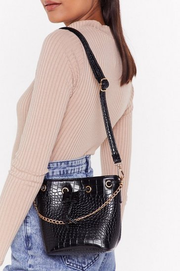 Womens Black WANT And Don't Bucket Up Shoulder Bag