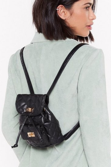 Womens Black WANT Back in a Mini Quilted Faux Leather Backpack