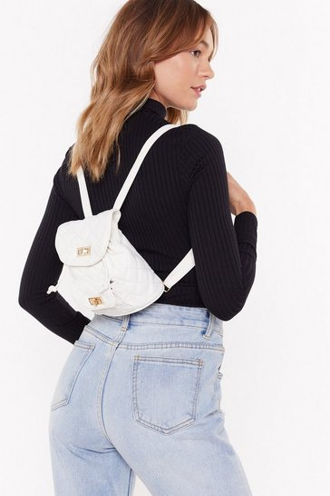 Womens White WANT Back in a Mini Quilted Faux Leather Backpack
