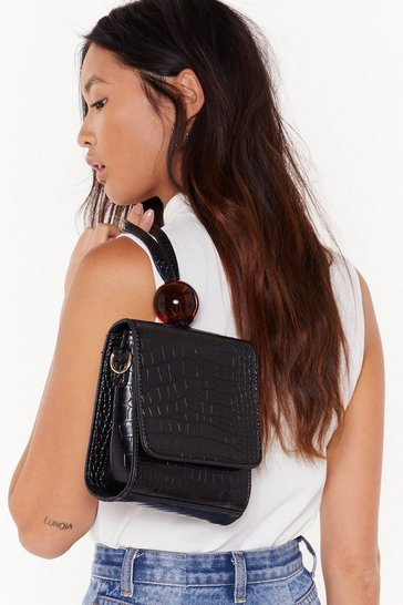 Womens Black Sqaure Structured Grab Bag