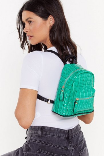 Womens Green WANT For Croc Sake Mini Backpack