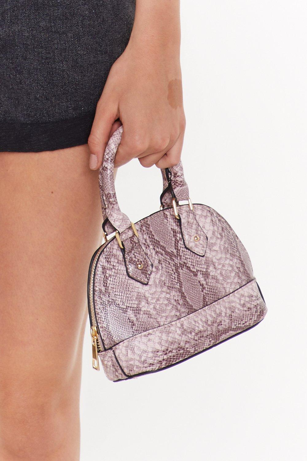 Blush Snake Structured Mini Bowling Bag by Nasty Gal