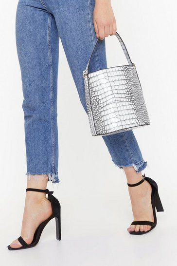 Black WANT Croc What You Know Faux Leather Bucket Bag