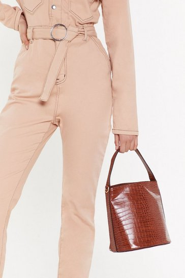 Womens Brown WANT Croc What You Know Faux Leather Bucket Bag