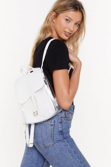 Womens White WANT Pack Your Bags Perspex Faux Leather Backpack