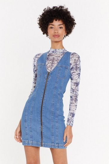 Womens Mid blue Denim Bodycon Mini Dress