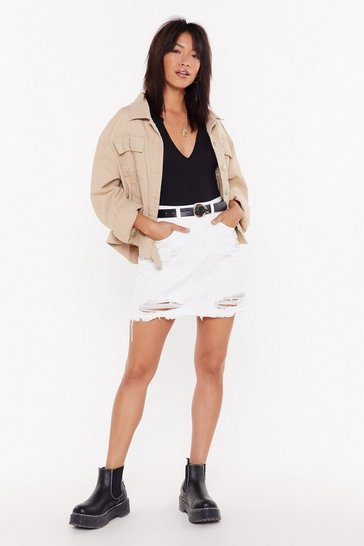 Womens White Because I Shred So Distressed Denim Mini Skirt