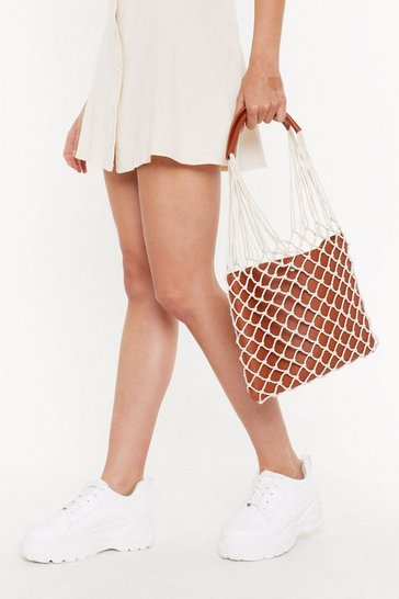 Womens Tan Caught In A Net Tote Bag