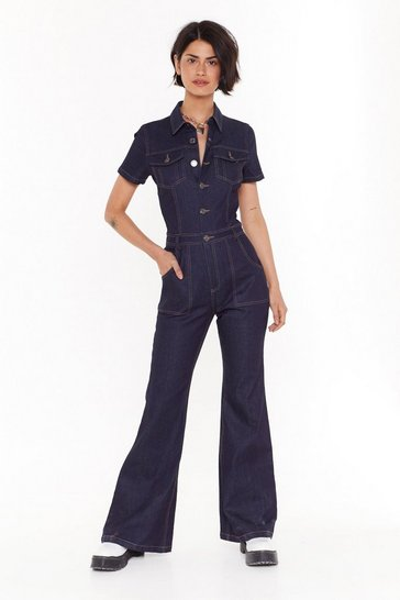 Womens Blue Flare All Denim Boilersuit