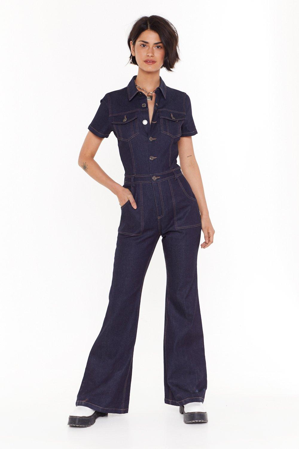 Flare All Denim Boilersuit by Nasty Gal