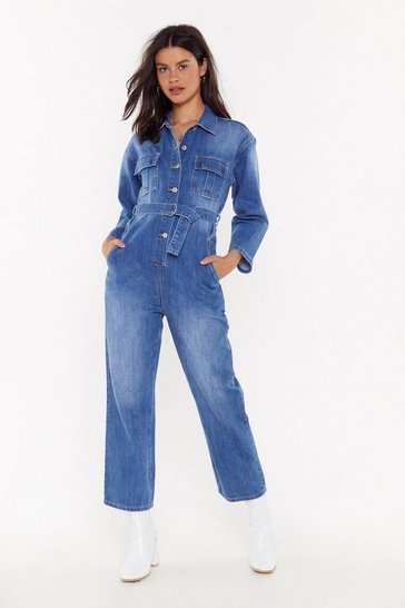 Womens Blue Jump to the Beat Denim Belted Jumpsuit