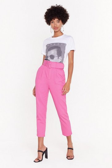Womens Pink You're Old News Paperbag Belted Trousers