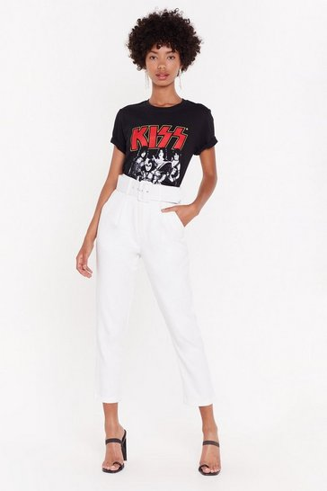 Womens White You're Old News Paperbag Belted Trousers
