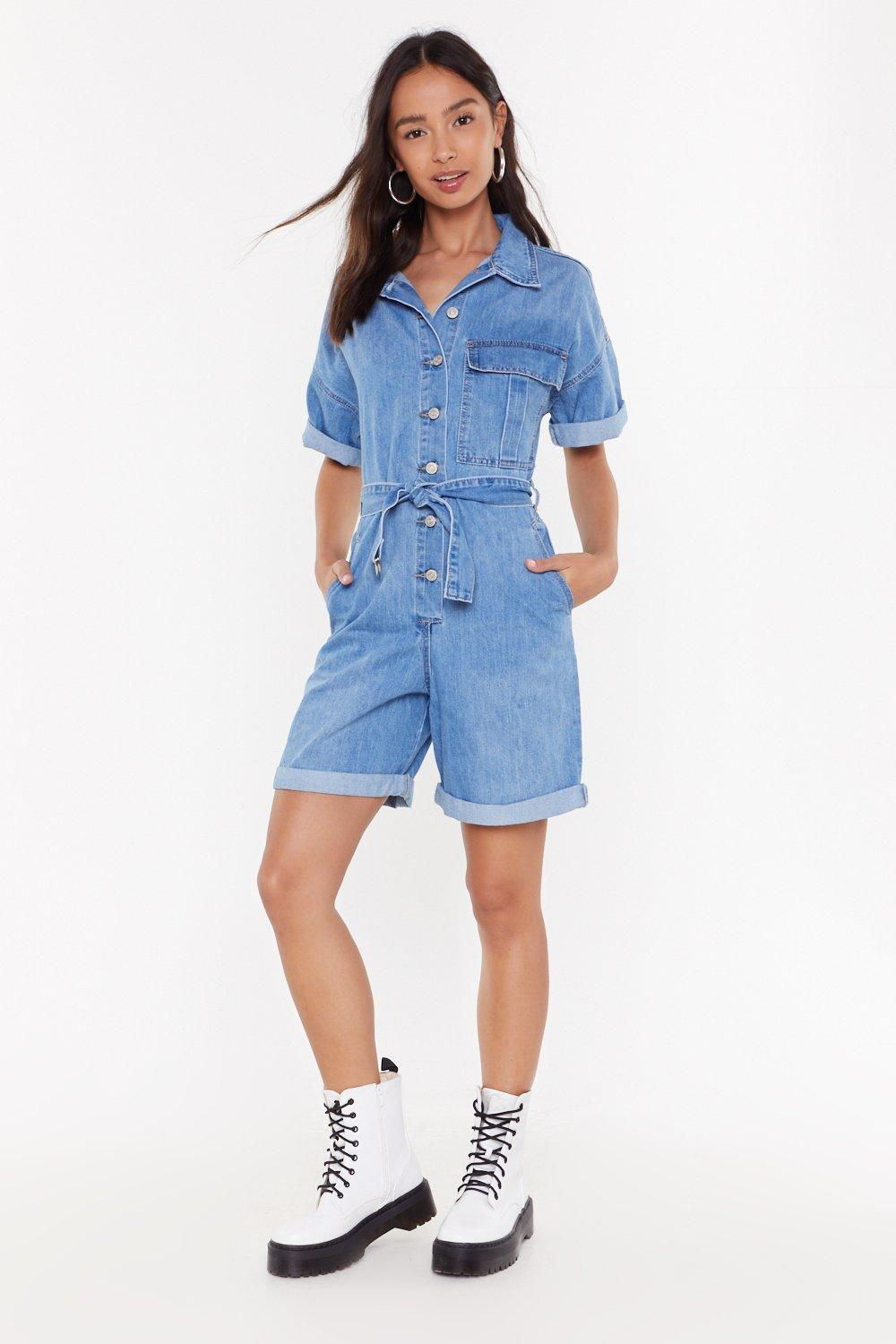 Turn It Up Denim Belted Playsuit by Nasty Gal