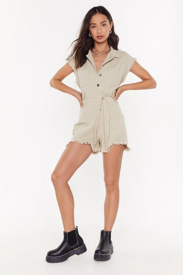 Stone Let the Music Fray Denim Button-Down Romper