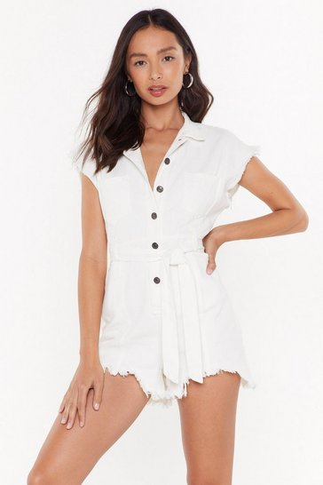 White Let the Music Fray Denim Button-Down Romper