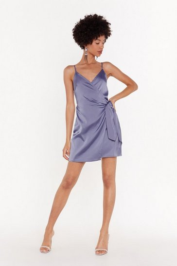 Womens Vintage blue Night Out Satin Mini Dress