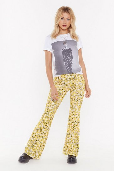 Womens Yellow Stop and Flare Floral High-Waisted Pants
