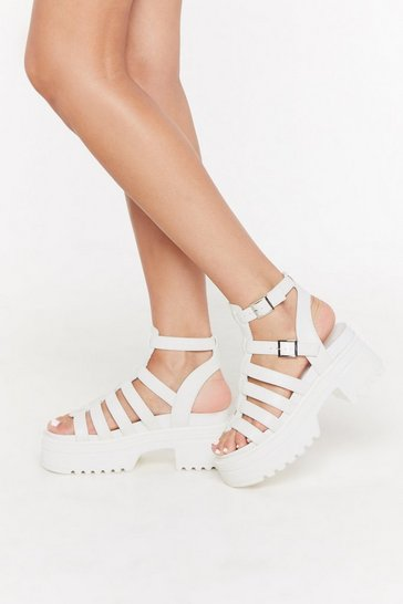 Womens White Coming of the Cage Platform Cleated Sandals