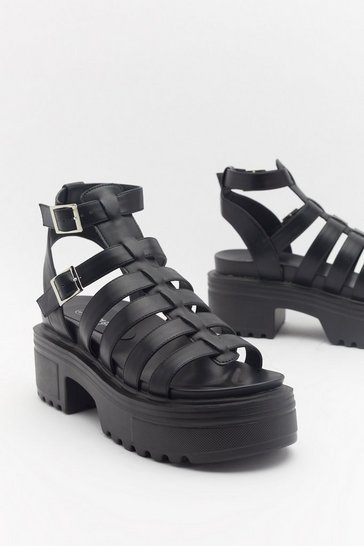 Black Fisherman Chunky Cleated Sandal