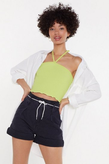Womens Lime Shirred or Respected Halter Crop Top