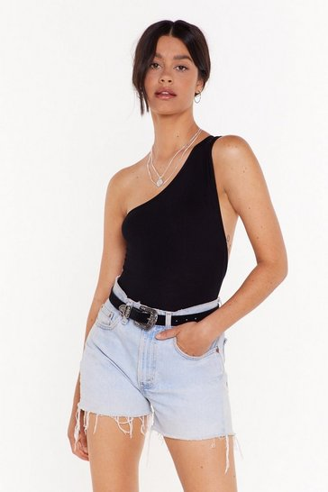 Womens Black One on One Shoulder Low Back Bodysuit