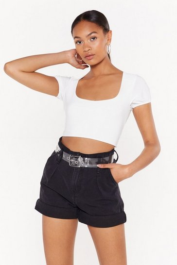 Womens White Square to Say Crop Top