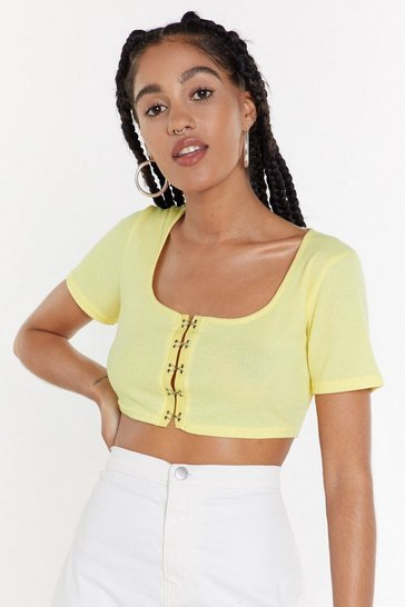 Womens Lemon Ribbed Hook and Eye Crop Top