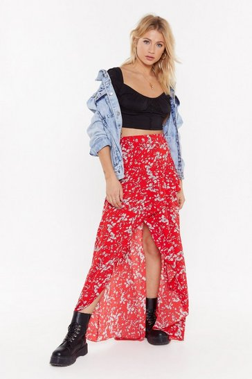 Womens Red Wrapper Ruffle Maxi Skirt