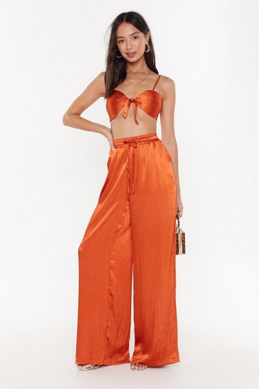 Womens Bronze See You on the Other Wide-Leg Satin Pants