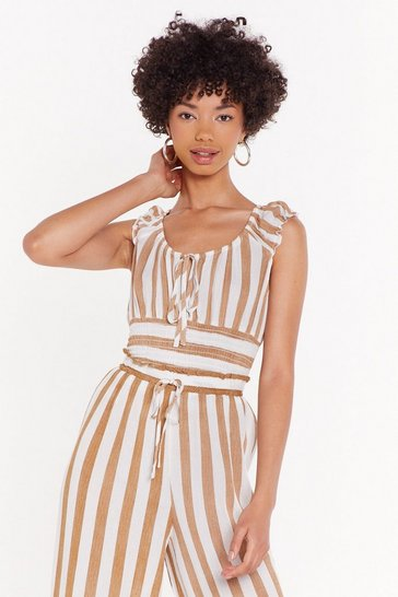 Womens Tan Ruched Striped Bardot Top