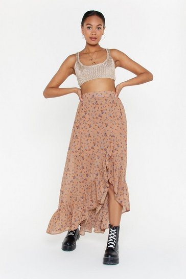 Womens Nude On a Flower Trip Floral Maxi Skirt