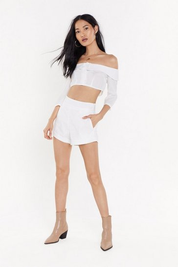 Womens White Stripe Down Babe Textured Shorts