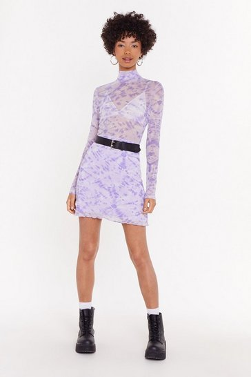 Womens Lilac Tie Dye Lettuce Hem Co-Ord Mini Skirt