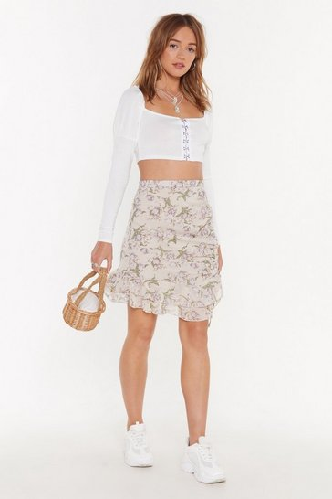 Womens Cream Frill Need You Floral Mini Skirt